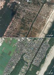 宮城県仙台市若林区荒浜の地震後(上)と2008年の衛星写真.jpg